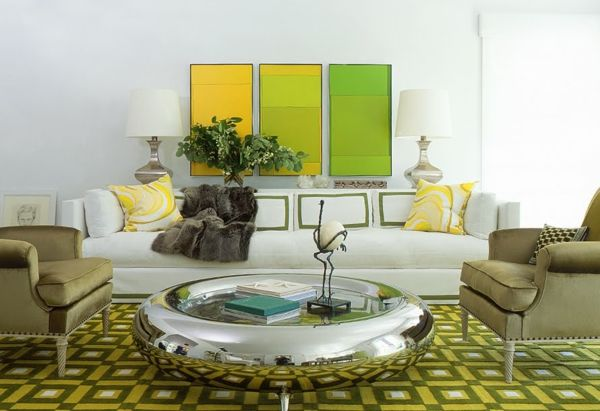 Wohnzimmer Farbe Ideen \u2013 gelbe Akzente Pinterest