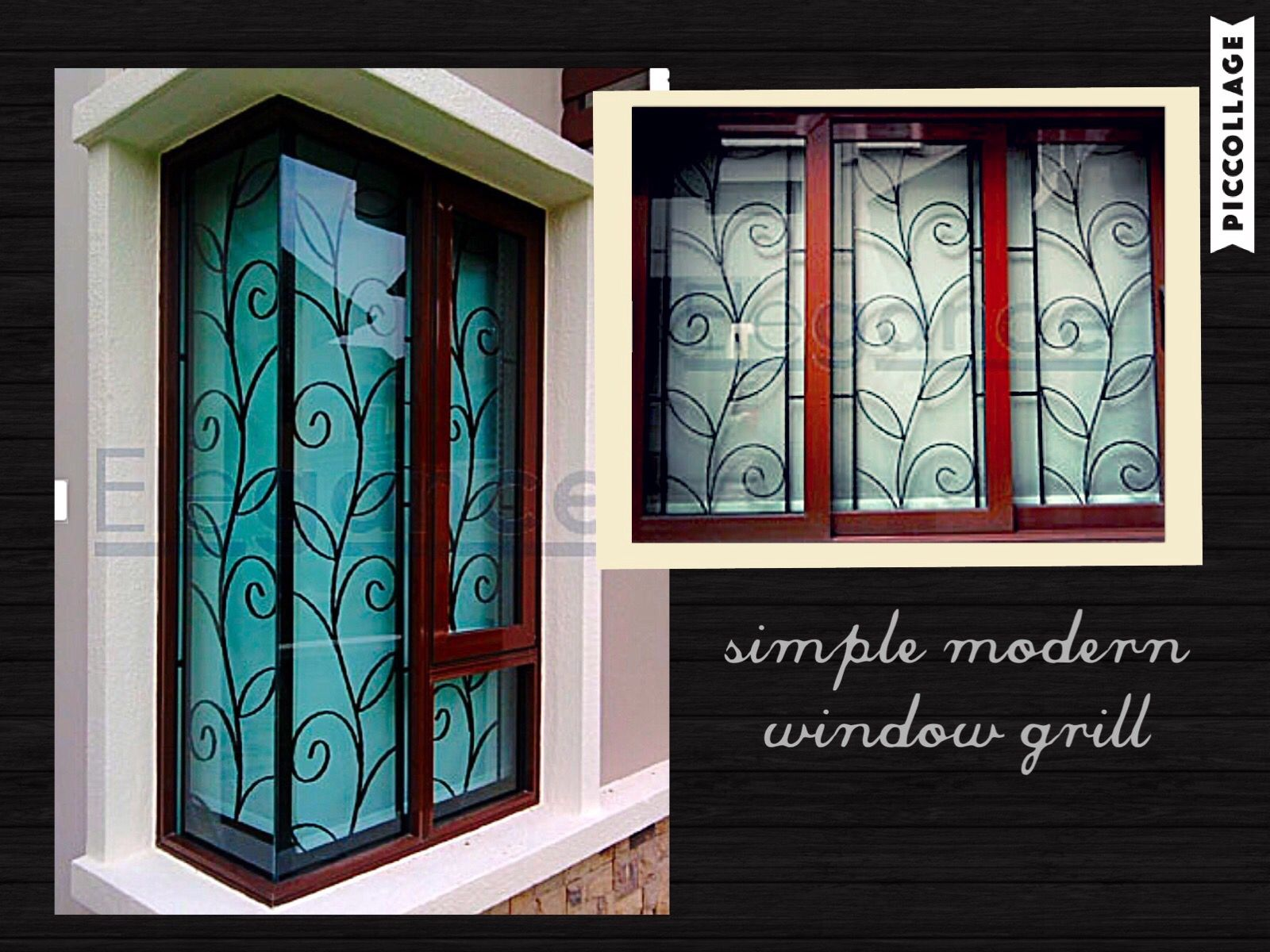 Love the simple n modern design of this window grill for Window design wood