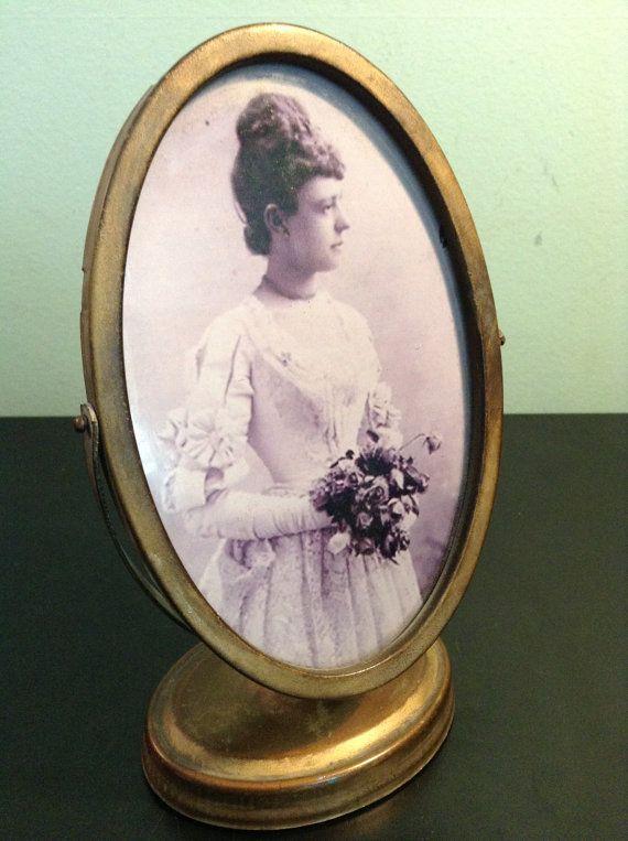 Antique metal swivel tilt frame with bridal by goodkarmakc on Etsy, $24.00