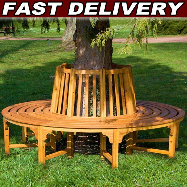 Round Tree Seat Bench Wooden Tree Seat Garden Bench Hardwood