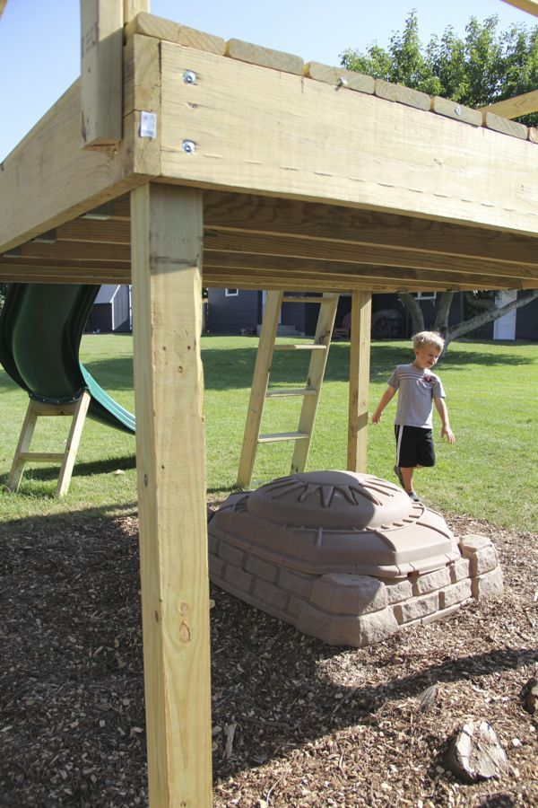 DIY Kid's Play Platform & Jumping Stumps! | Backyard playset ... on diy raised garden, diy raised patio, diy raised pool, diy raised deck,