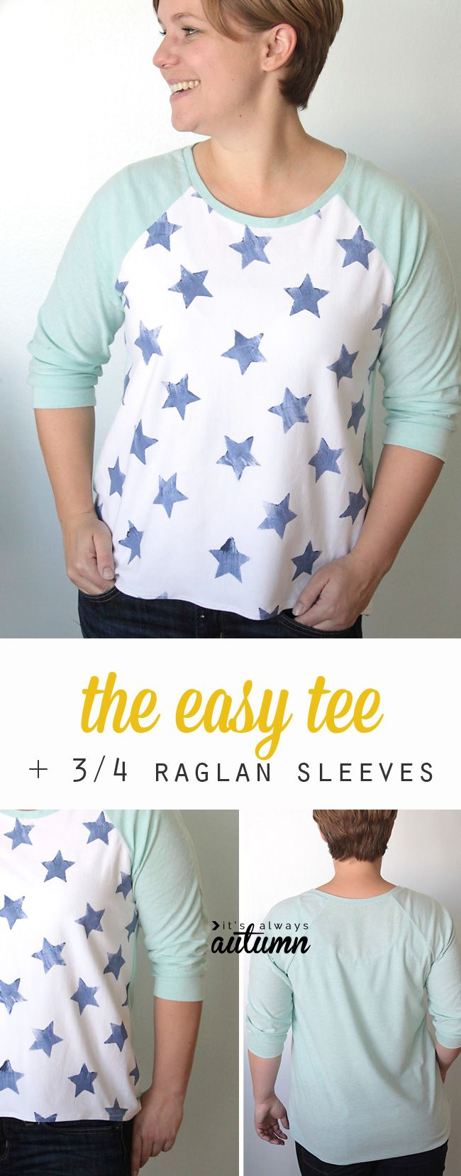 0c16bf70e7a Free pattern and sewing tutorial for this easy to sew raglan tee shirt for women  with three quarter length sleeves.