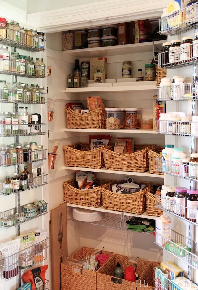 baskets in pantry shelving from container store on doors LLH