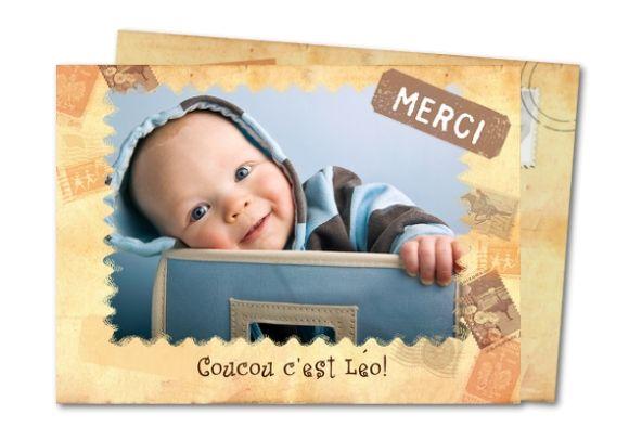 Carte de remerciements de naissance Timbre carte postale | Carte remerciement, Carte ...