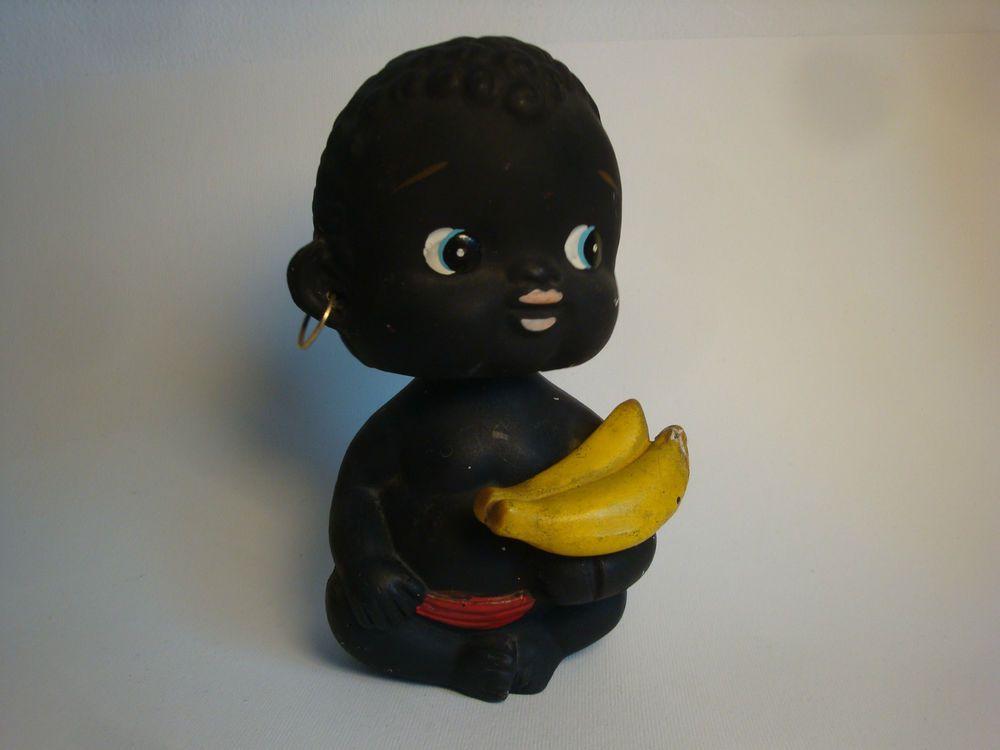 Arredamento kitsch ~ Vintage black baby money box bobble head bananas kitsch