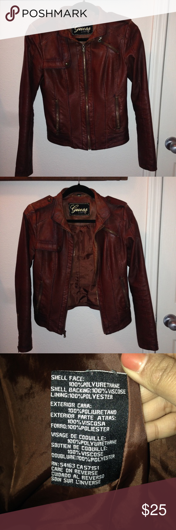Guess Brown Faux Leather Jacket Size S Brown Faux Leather Jacket Leather Jacket Faux Leather Jackets [ 1740 x 580 Pixel ]