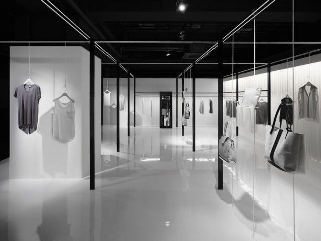 Beige minimal fashion store interiors and retail