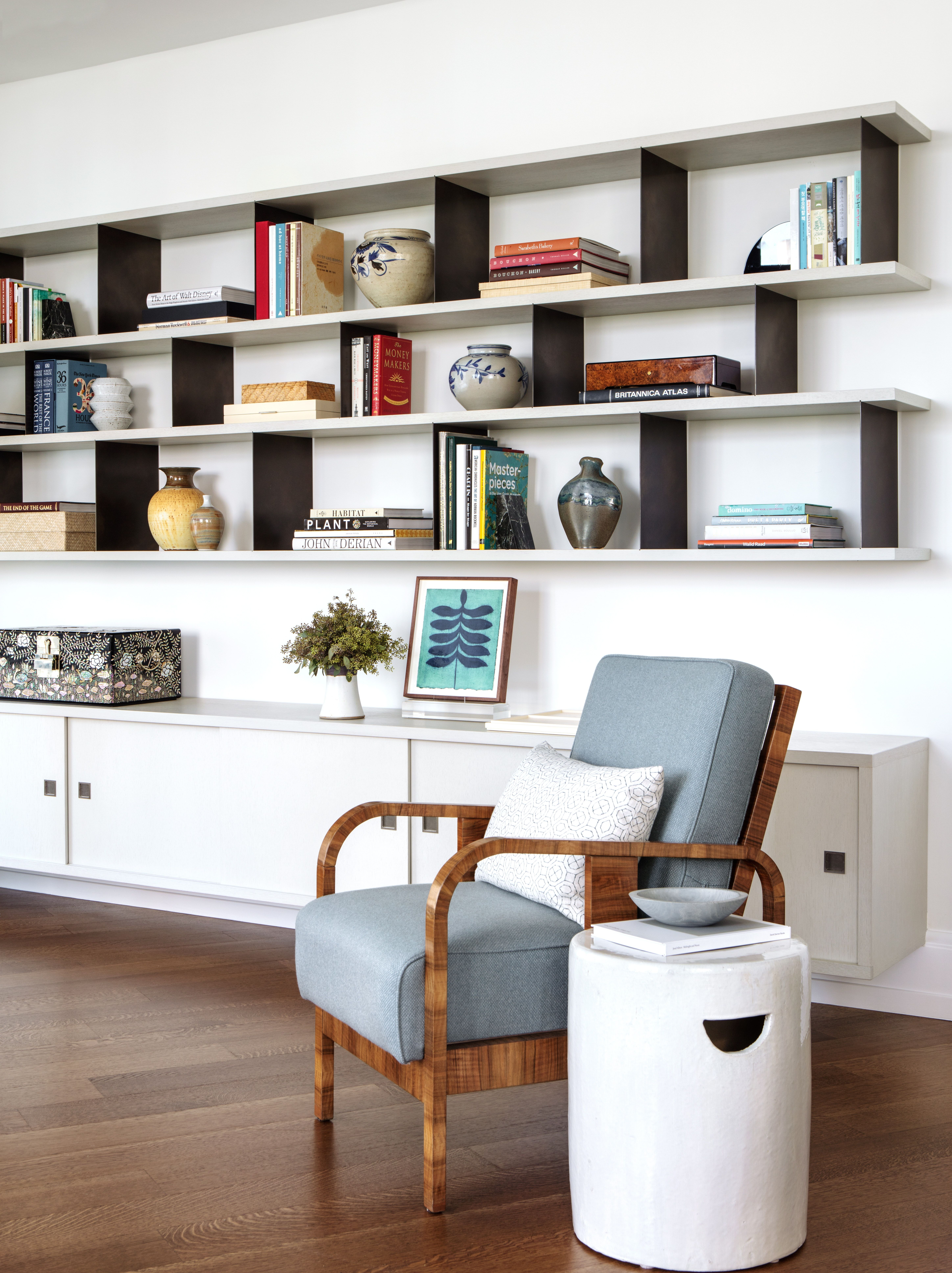 Modern Living Room Built In Bookcase With Open Shelves And Closed