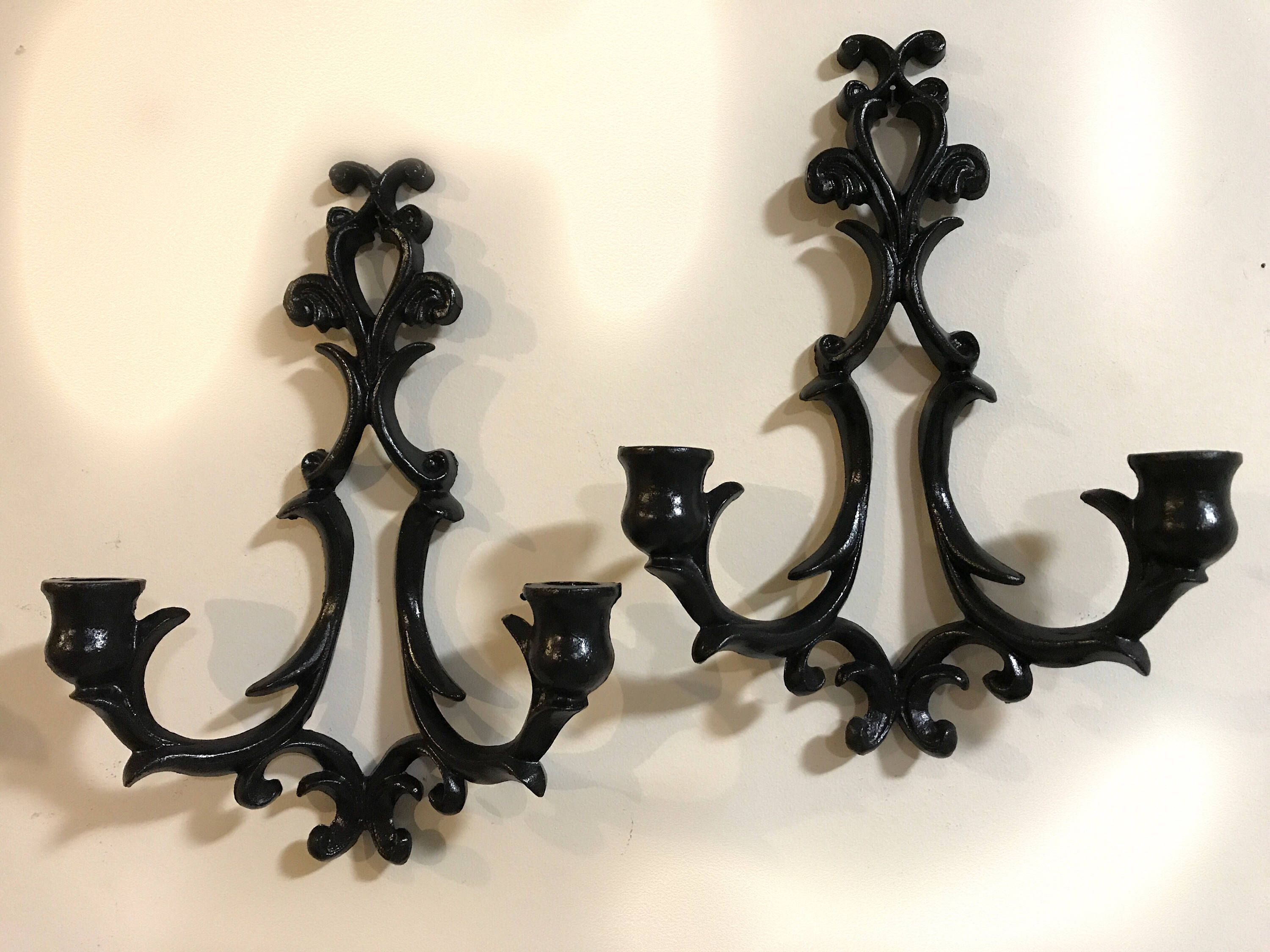 Black Cast Iron Wall Scoces Candle Holders By Wilton Vintage