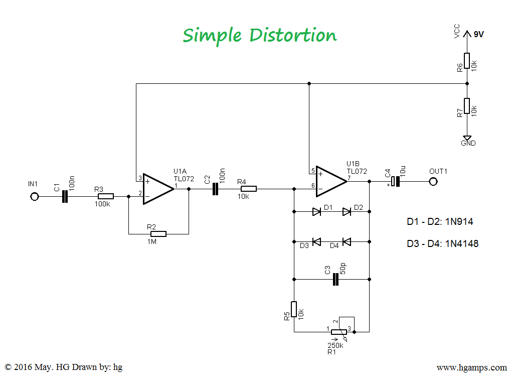 simple distortion effect circuit a few parts such as chip tl072 and a few others and you 39 re. Black Bedroom Furniture Sets. Home Design Ideas