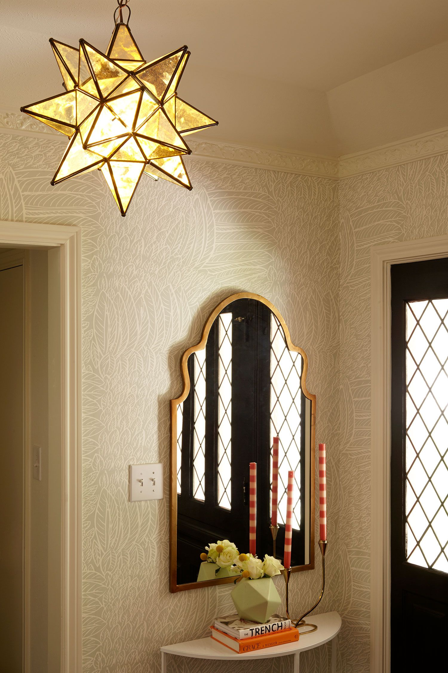 Traditional hallway wallpaper  A Traditional Meets Contemporary Home  Rue  Entryways Hallways