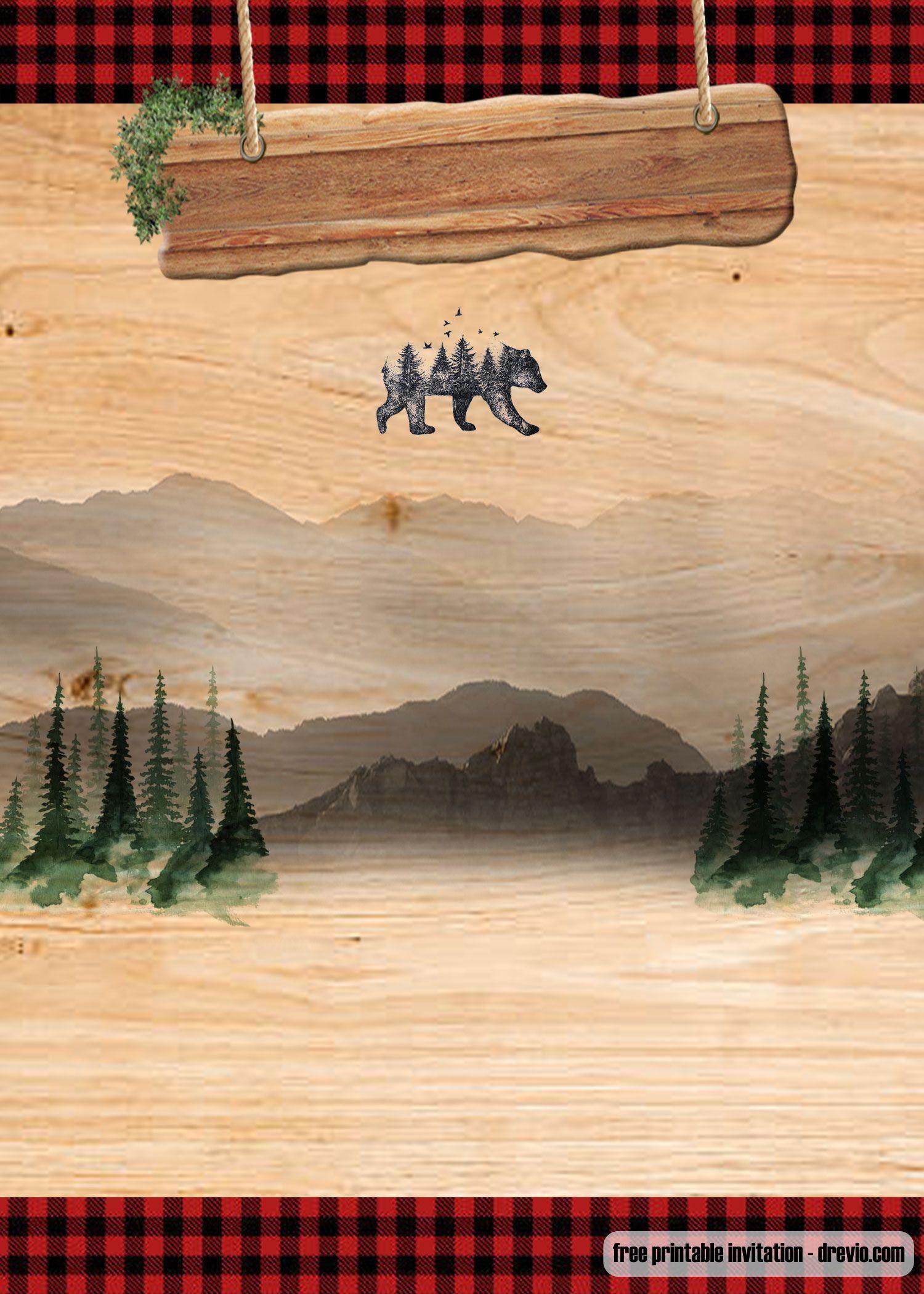 free printable lumberjack invitation