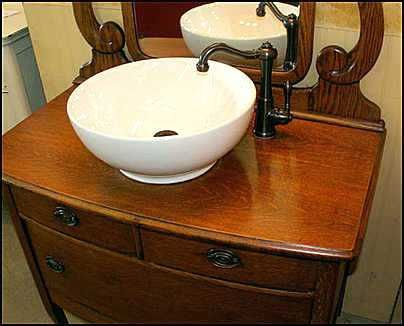 Superbe Antique Dresser Vanity With Vessel Sink Antique Dresser