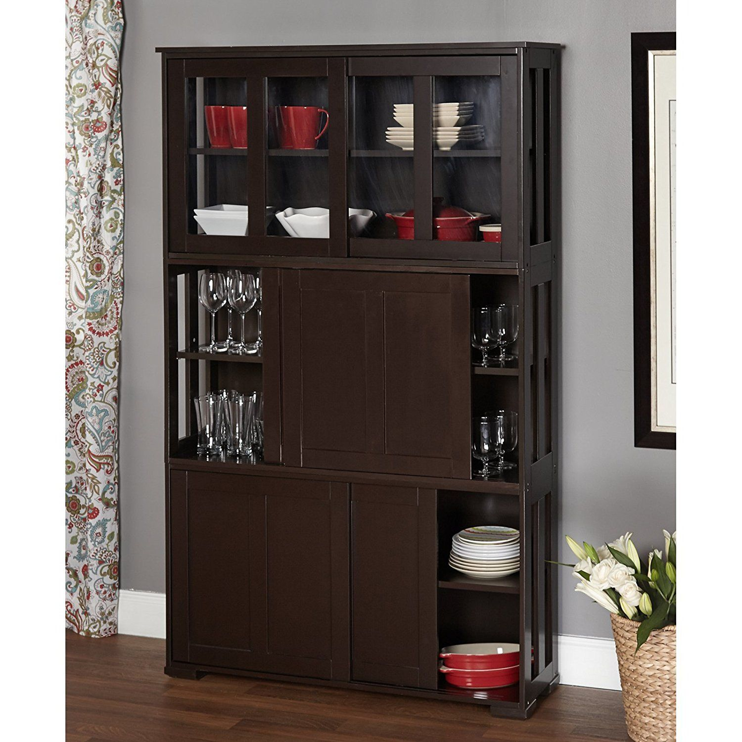 Corner China Cabinet With Glass Doors Stackable Dining Room Furniture Hutch New