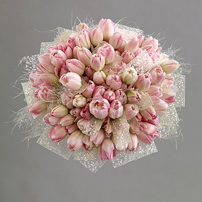Tulip Tulle Lace And Faux Pearl Bouquet Interflora