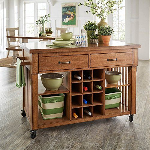 New Kitchen Cart With Wine Rack Multiple Finishes Oak Unique