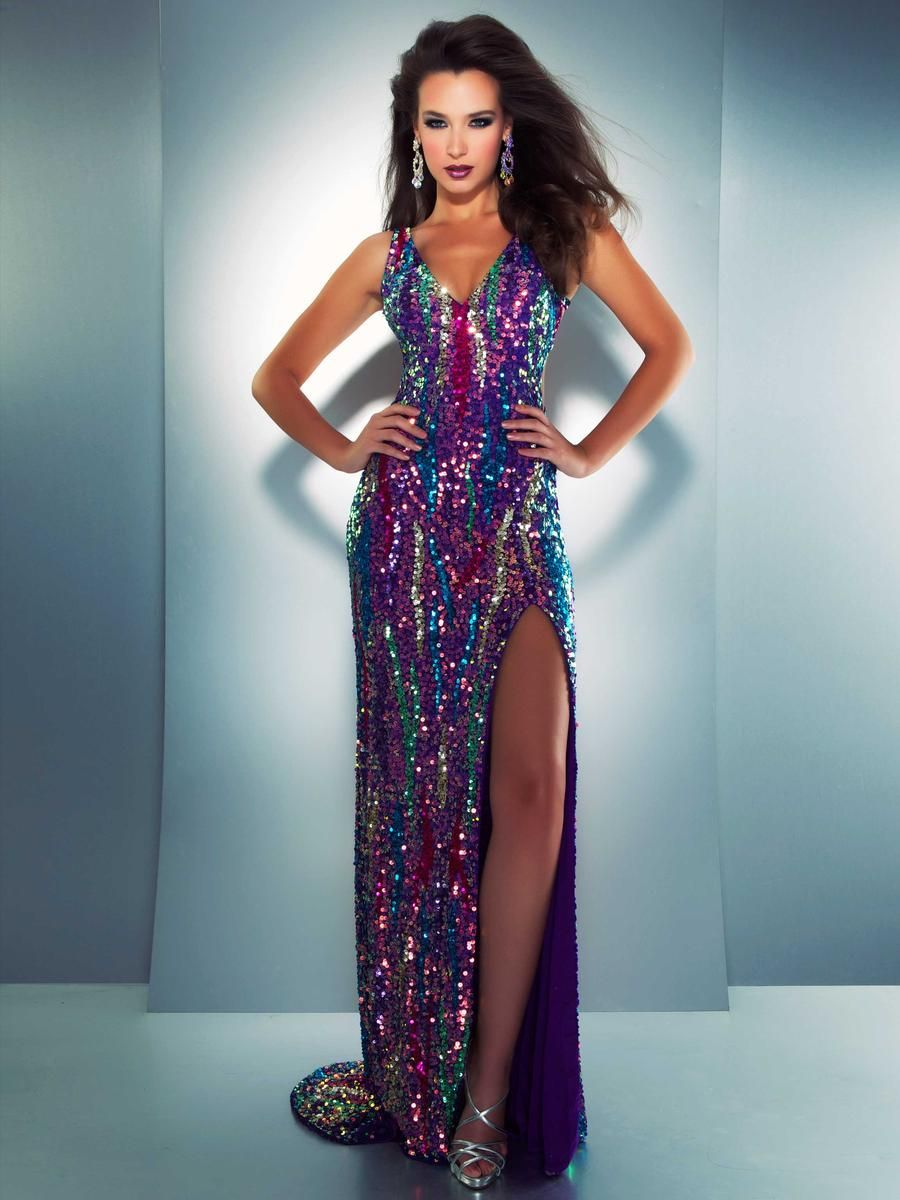 Long Multicolored Prom dress | Prom dresses | Pinterest | Prom ...