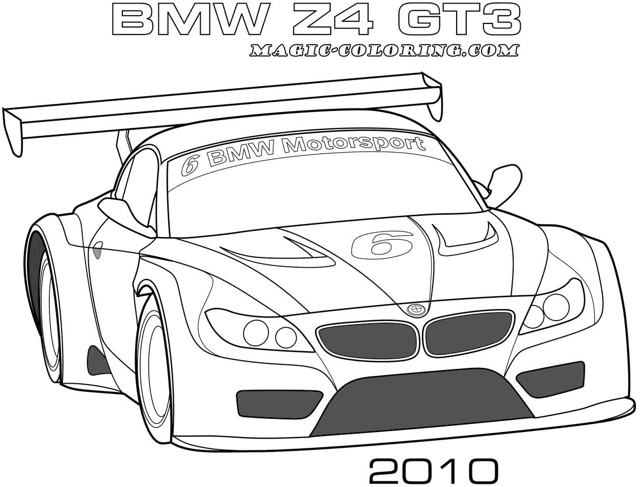 2010 Bmw Z4 Gt3 Coloring Page Cars Coloring Pages Race Car Coloring Pages Bmw Z4