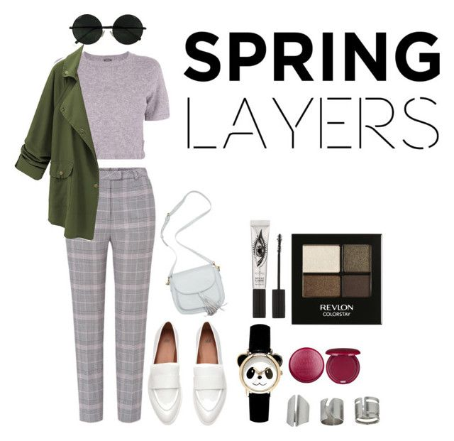 """hipster spring"" by umyeena-bashir ❤ liked on Polyvore featuring Monrow, ESCADA, Topshop, Stila, Eyeko and Revlon"