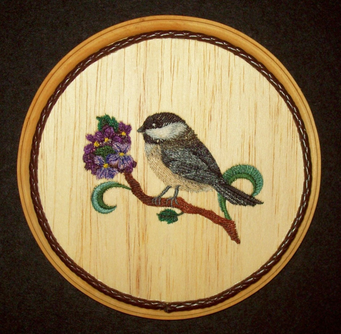 Chickadee & Violets Wall Decorembroidery On Balsa Wood By