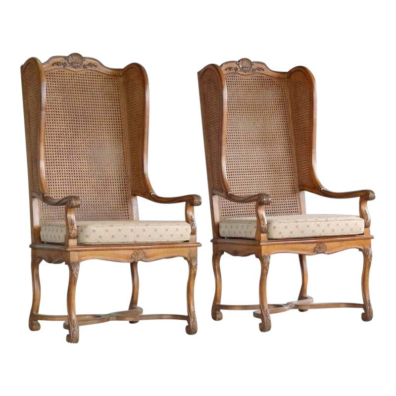 Pair of 1920s Hollywood Regency Cane Wingback Chairs in