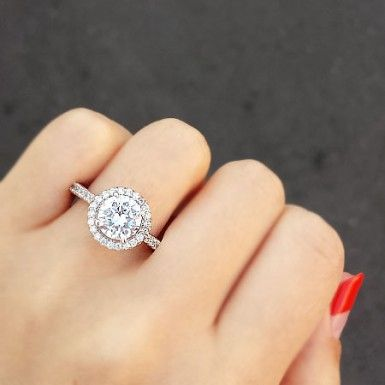 ring choice set circle and in big white halo wedding dress promise round gold decoration image rings carat diamond engagement