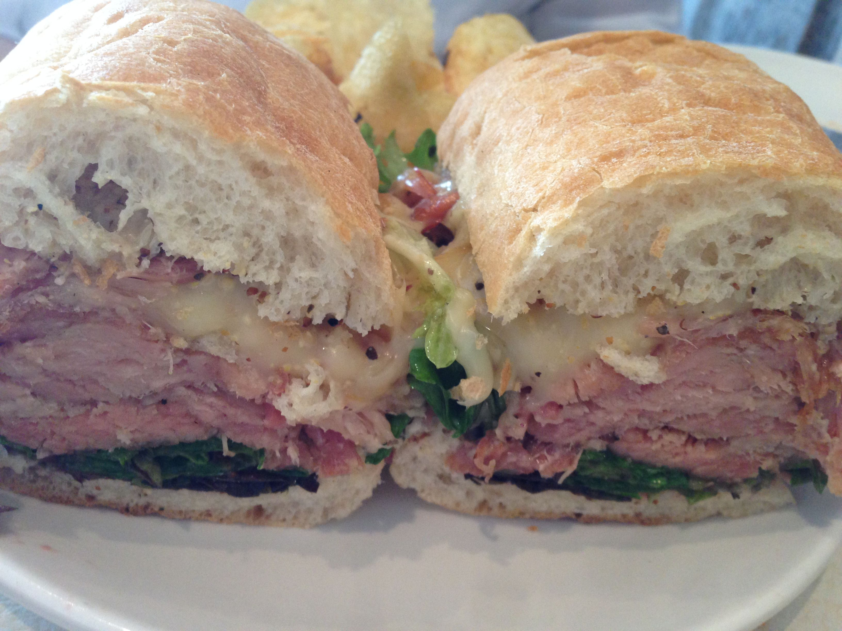 Pork belly sandwich smoked gouda jam red onions