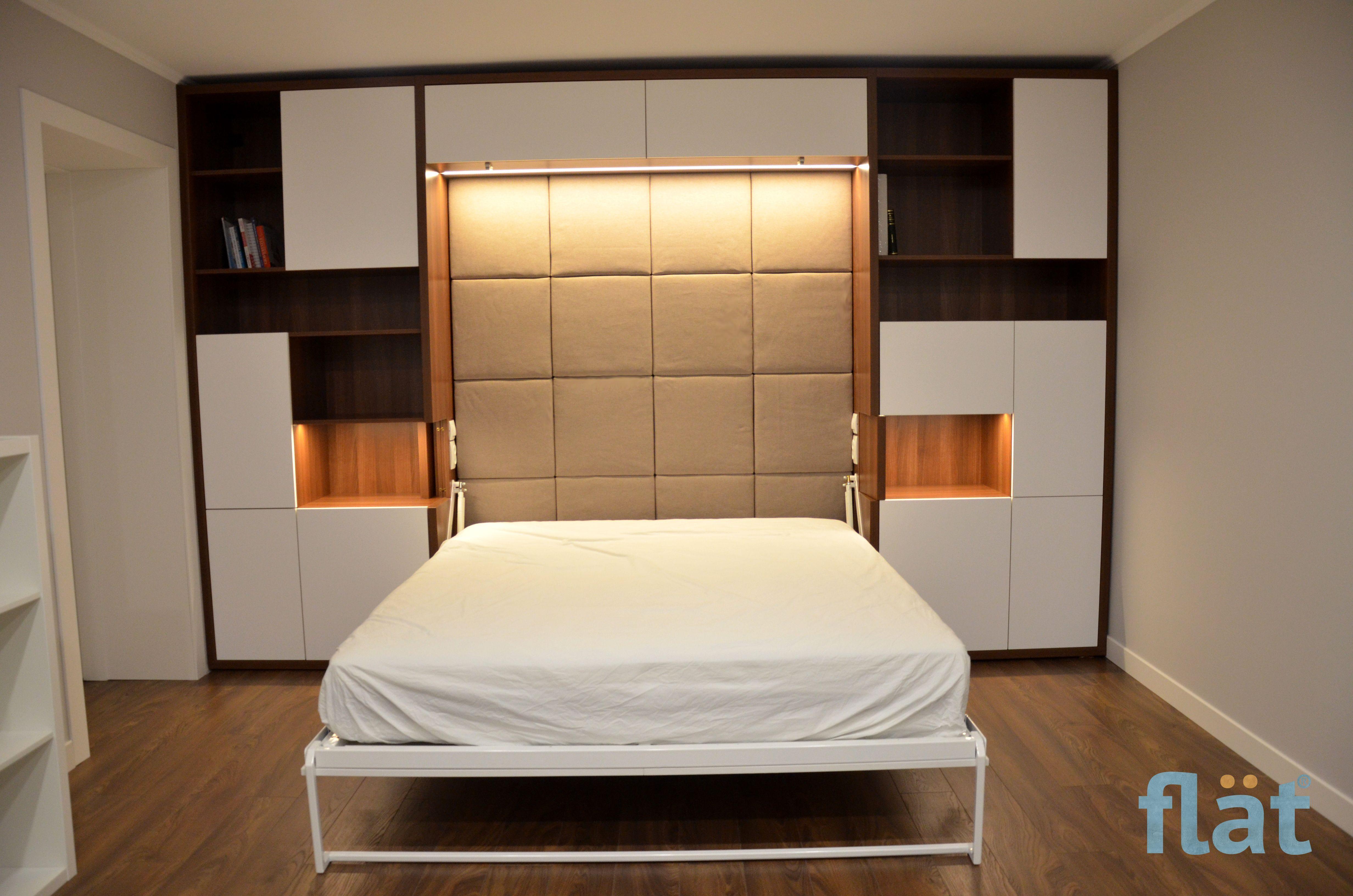 Hidden Bedroom With Murphy Sofa Led Lighting Inside Bed