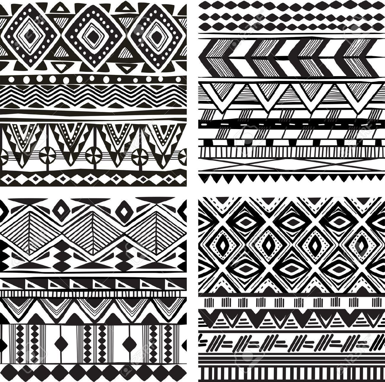 African patterns black and white seamless google search for Design patterns for pot painting