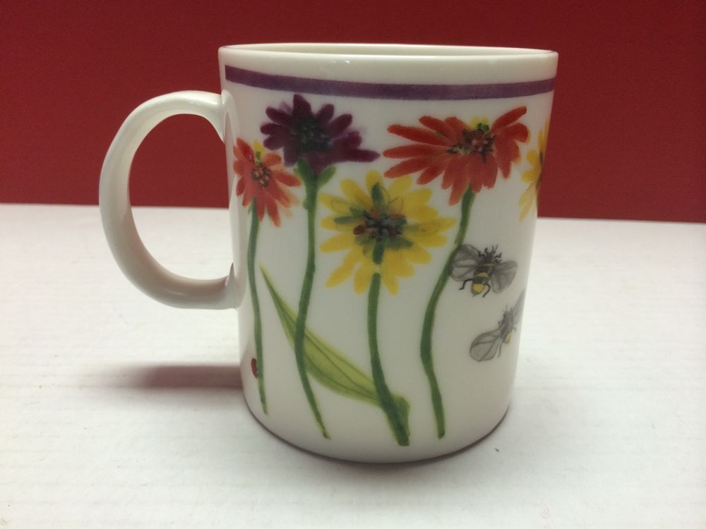 3769f937629 Starbucks Coffee Mug Cup Painted Flowers Dragonfly Ladybug & Bees ...