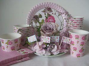 VINTAGE ROSE PINK PARTY TABLEWARE NAPKIN CUP CUPCAKE FLAG PLATE ...