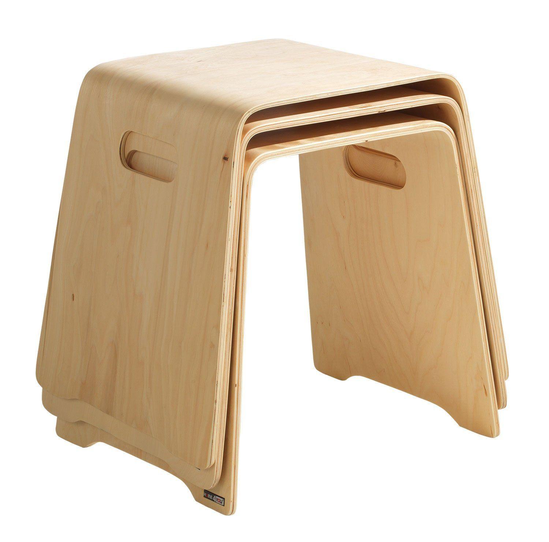 Stapelhocker Sitz-Hocker MATHEO | Birke Schichtholz natur lackiert ...