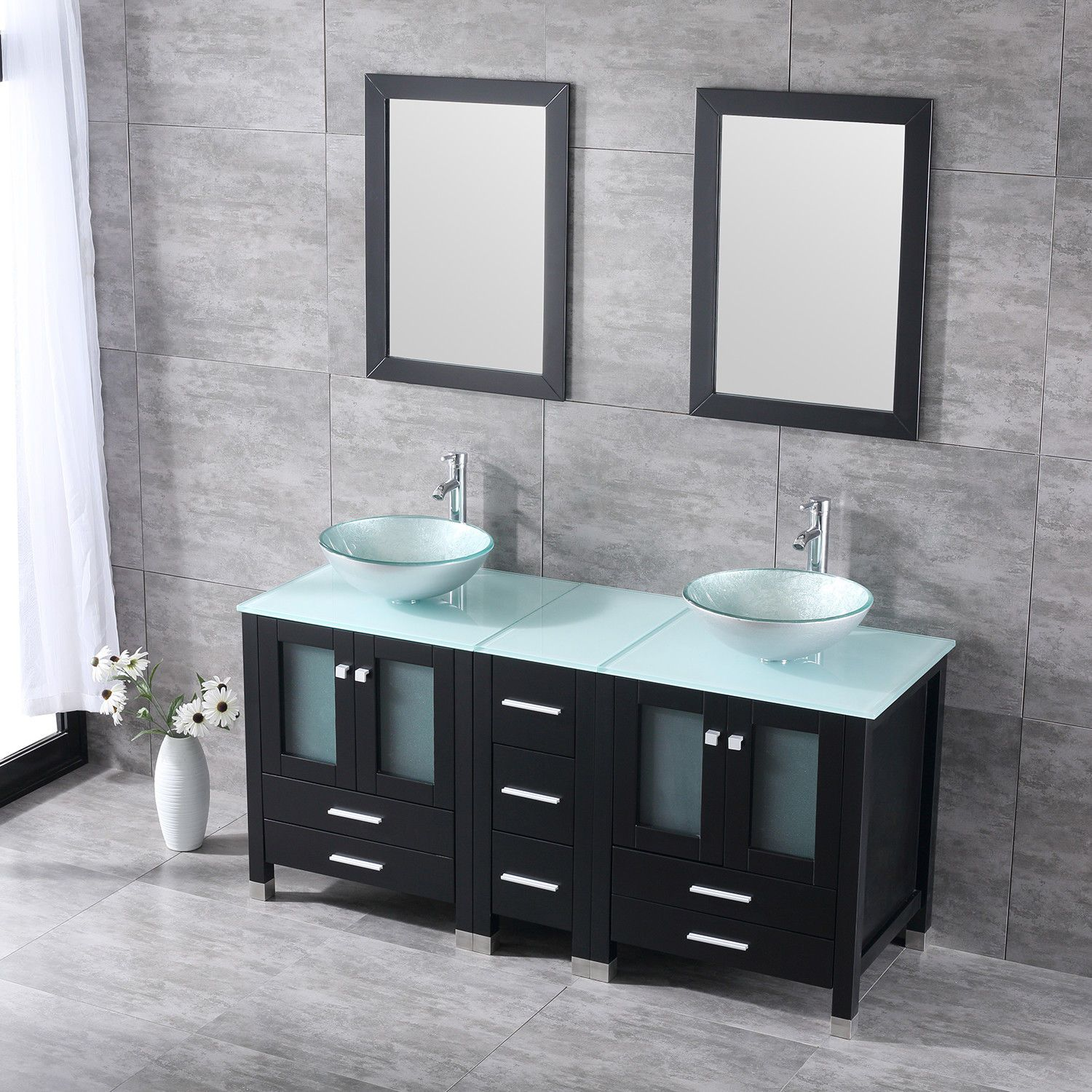 60 Bathroom Vanity Cabinet Double Solid Wood Set Tempered Glass