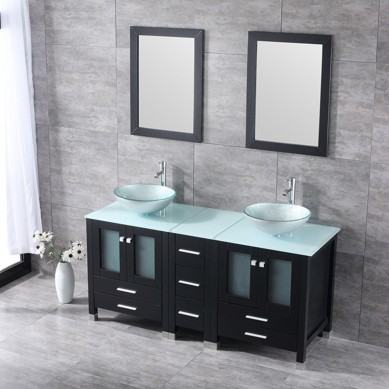 Bathroom Vanity Cabinet Double Solid Wood Set Tempered Glass Top - Glass top bathroom vanity units