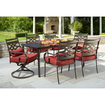 Hampton Bay Middletown 7 Piece Patio Dining Set With Chili Cushions