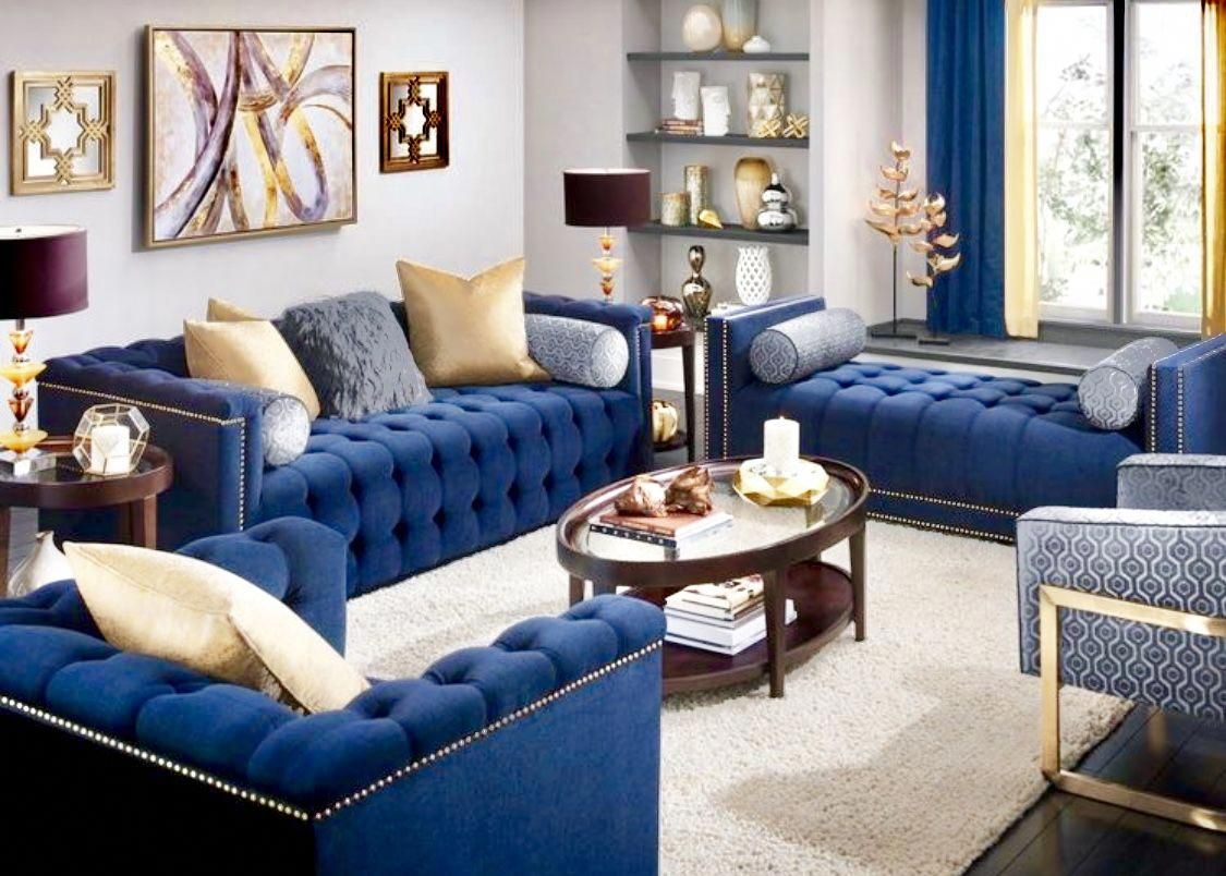 Glamour navy blue living room decor blue velvet sofa Beautiful