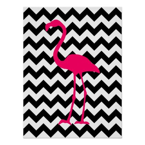 poster ziguezague preto e branco do flamingo cor de rosa posters