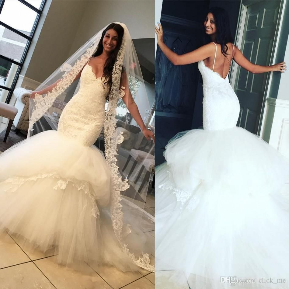 Y Mermaid Wedding Dresses 2017 Spaghetti Strap Lace Liques Backless Bridal Dress With Tiers Skirt Tulle