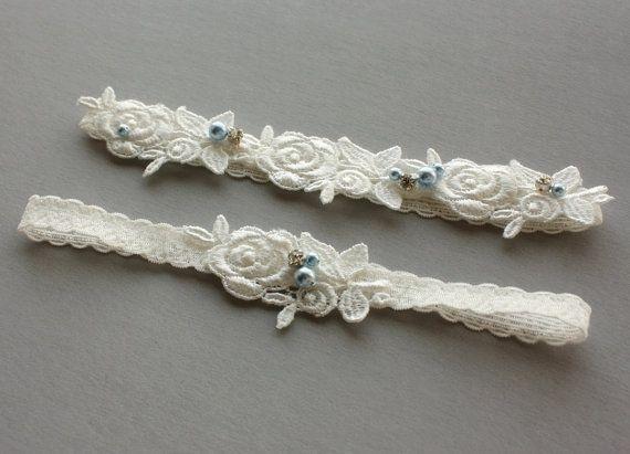 Dainty Light Ivory Lace Bridal Garter SET by GillyflowerGarters, $25.50
