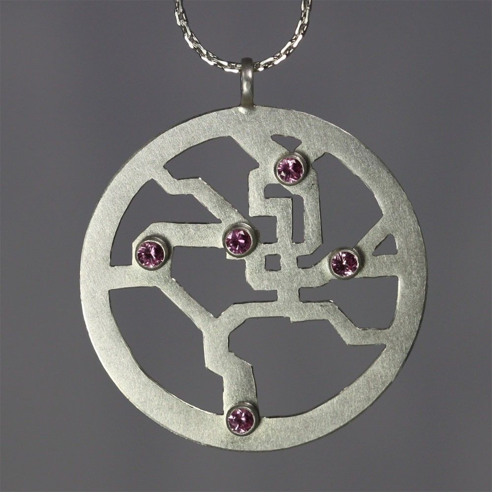 Metro Map Necklace (Pink Tourmaline)