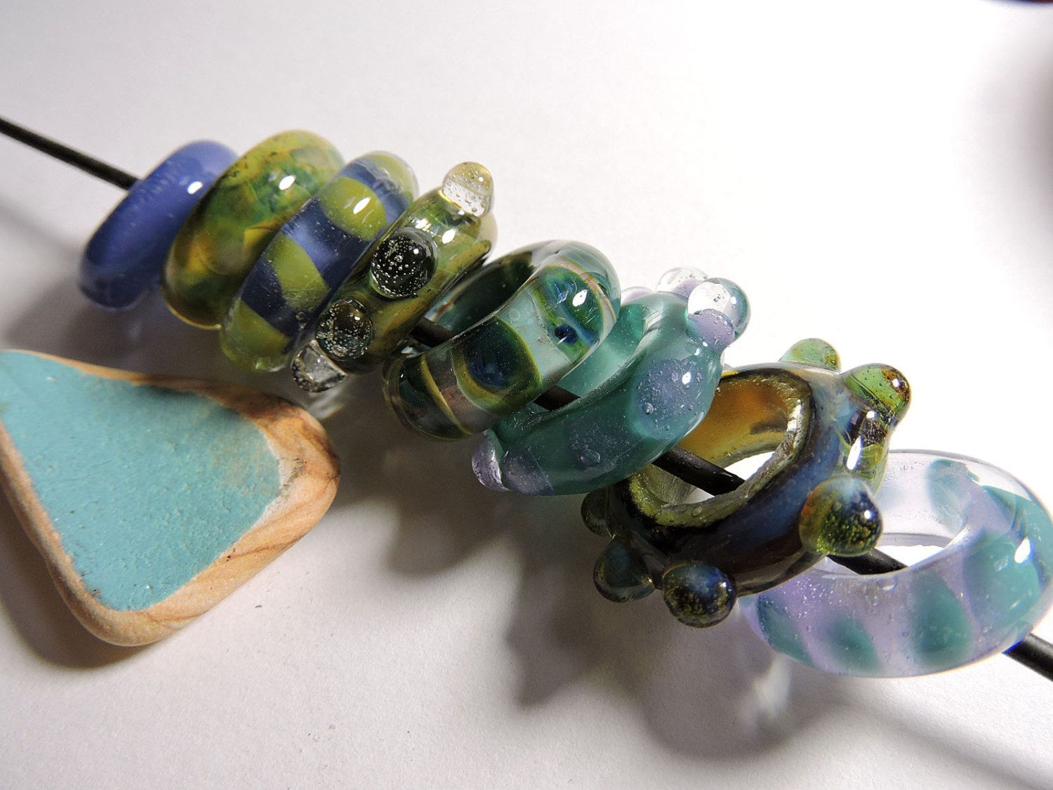 Lampwork Beads Borosilicate OCEAN SLIDES  Two Sisters Designs 071515A by TwoSistersDesignss on Etsy