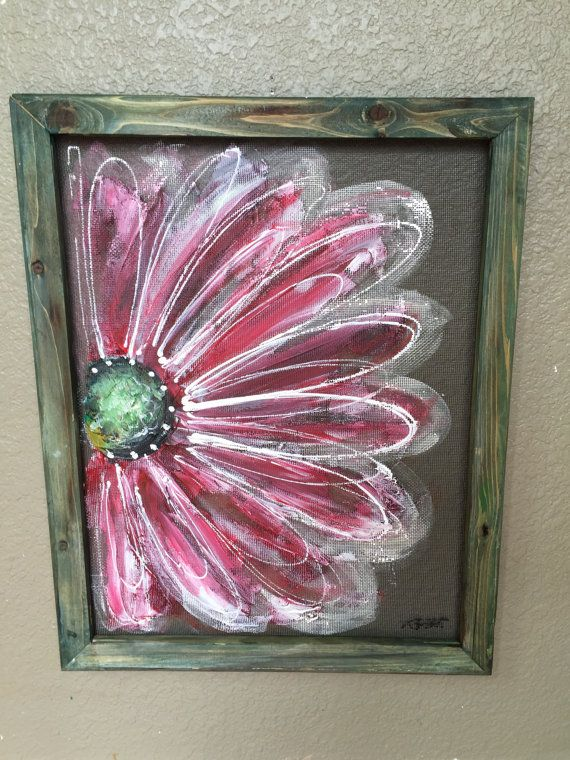 Made To Order Recycle Screen Hand Painting Flower Art Repurposed Window Screen Art Wall Art Flower Art Flower Painting Window Crafts