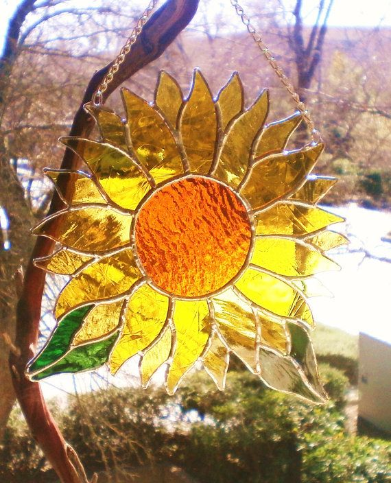 Sunflower Stained Glass Panel by Lightworksartworks on Etsy