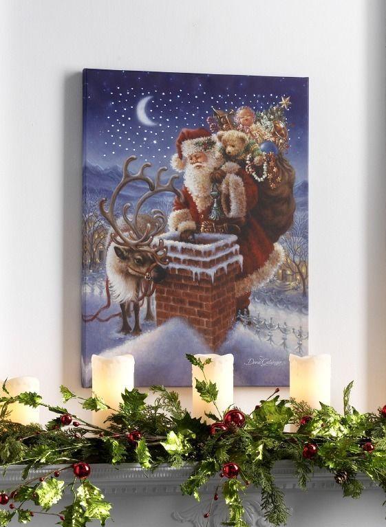 Fiber Optic Lighted Canvas Christmas Print Of Rooftop Santa And Reindeer Christmas Prints Lighted Canvas Santa And Reindeer