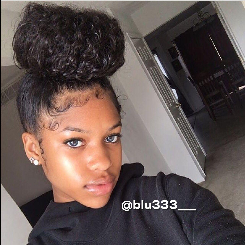 Naturally Curly Top Knot Bun Natural Hair Styles Box Braids Hairstyles Curly Hair Styles