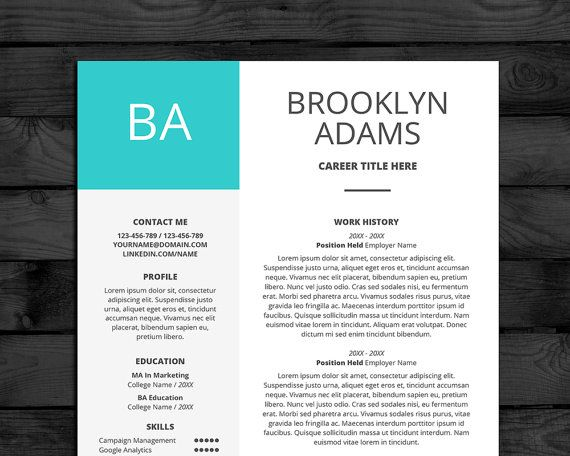 Modern Professional Resume Template for Word Flat Style 3 Pages