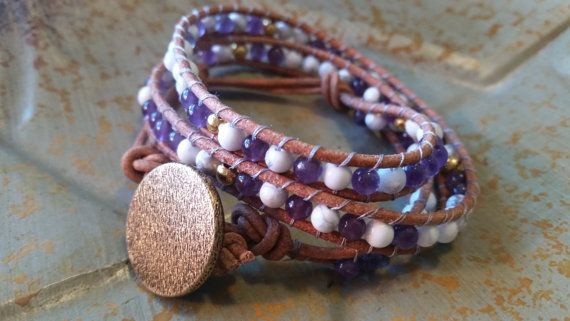 Gorgeous Feb. BirthStone Bracelet! Leather Wrap!! Purple Amethyst and White Gemstone!   StudioSunshineCo