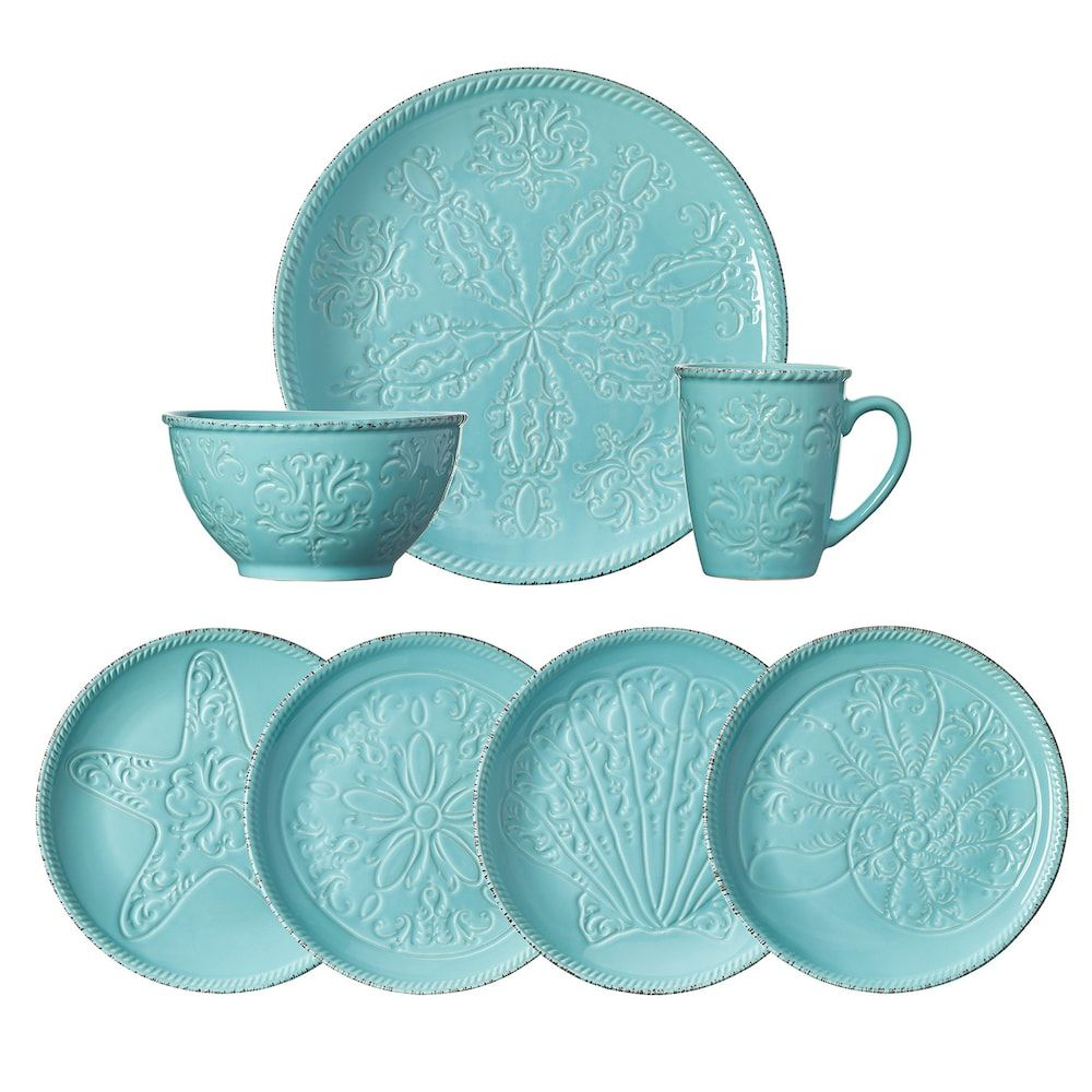 Pfaltzgraff Everyday Malibu 16 Pc Dinnerware Set Blue