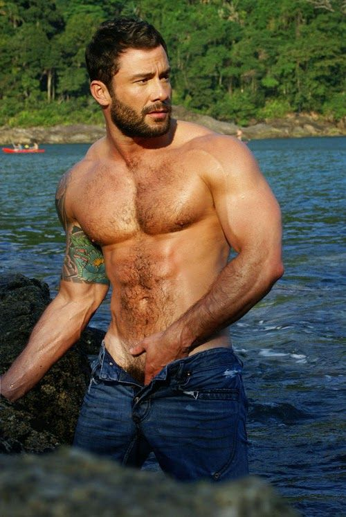 Hairy men stripping