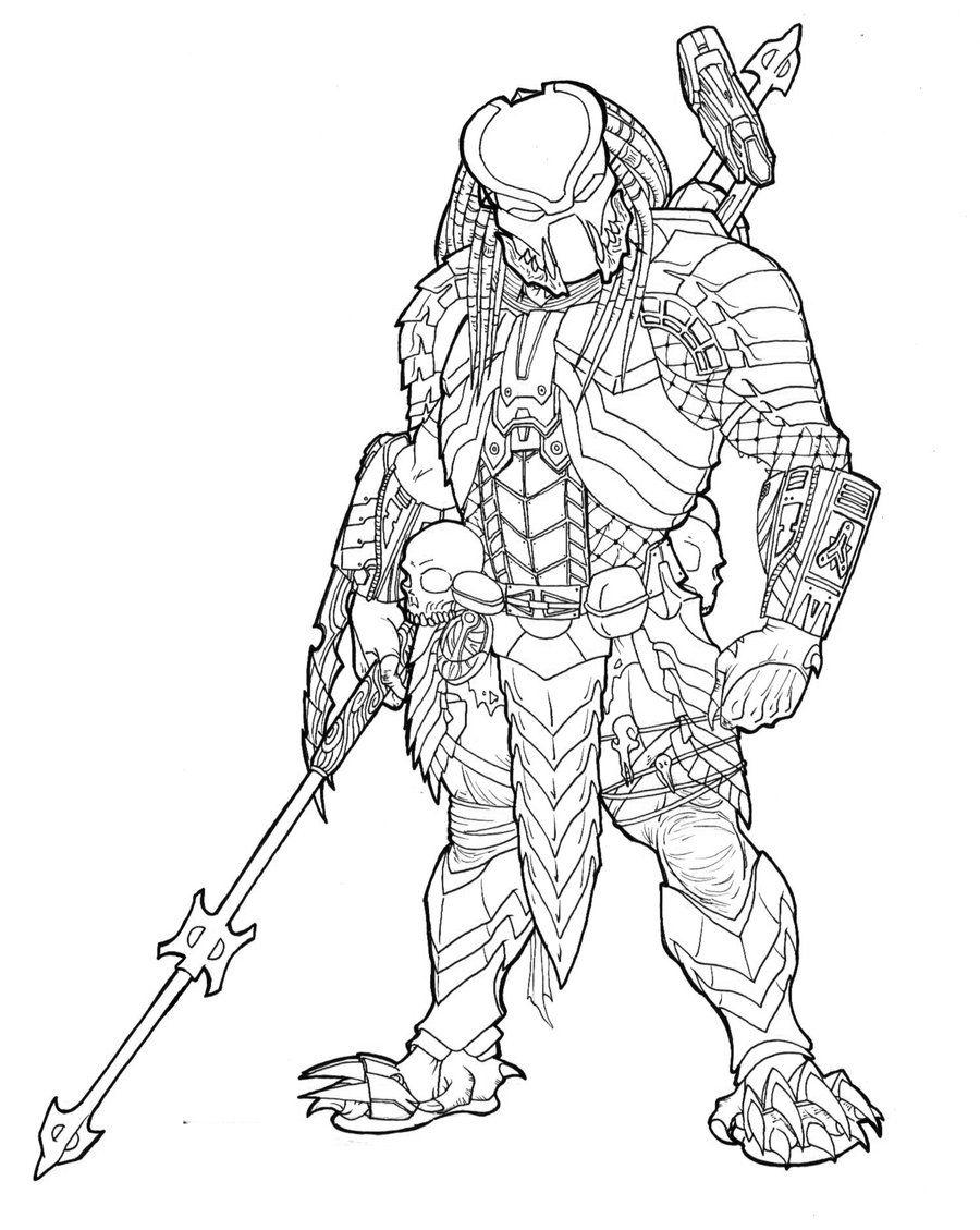 Predator coloring pages   Predator art, Alien drawings ...